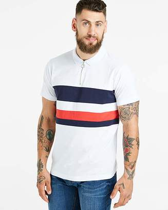 Jacamo Zip Stripe Panel Polo Long