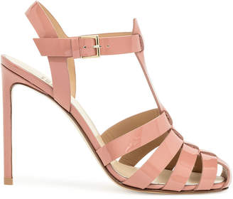 Francesco Russo Smokey pink patent leather cage sandal