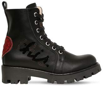 Ermanno Scervino Embellished Leather Ankle Boots