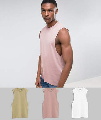 eeec18f4f4ba8 Asos Design DESIGN Tall relaxed sleeveless t-shirt with dropped armhole 3  pack multipack saving
