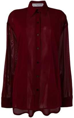 Victoria Beckham sheer-panelled chiffon shirt