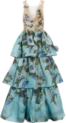 Marchesa - Tiered Floral-print Silk-organza And Appliquéd Lace Gown - Blue $7,495 thestylecure.com