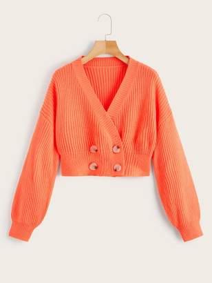 Shein Button Decoration V-neck Pullover Sweater