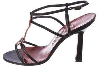 Manolo Blahnik Leather Ankle Strap Sandals