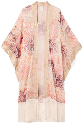 Anna Sui Love In The Mist Fringed Fil Coupé Chiffon Kimono - Pink