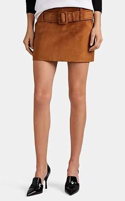 Prada Women's Suede Belted Miniskirt - Lt. brown