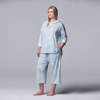 Vera Wang Plus Size Simply Vera Hooded Sleep Top & Pajama Culotte Set