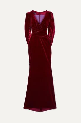 Talbot Runhof Roisin Draped Cape-effect Stretch-velvet Gown - Burgundy