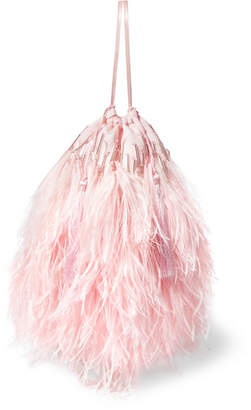ATTICO Feather-trimmed Beaded Satin Pouch - Pink