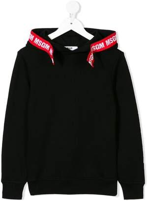 MSGM Kids contrast logo tape detail hoodie