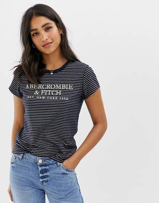 Abercrombie & Fitch t-shirt in metallic stripe with embroidered logo
