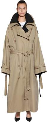 Juun.J Oversized Layered Cotton Trench Coat