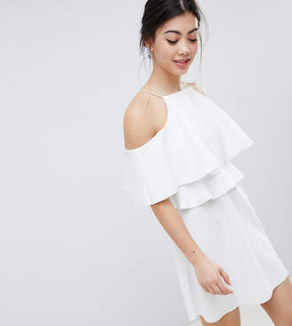 Asos DESIGN Petite high neck cold shoulder skater mini dress