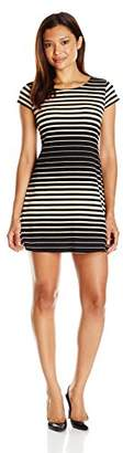 Tiana B Women's Petite Variegated Striped Textured Knit Trapeze Dress