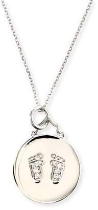 "Monica Rich Kosann Baby Feet Pave White Sapphire Charm Necklace, 30""L"