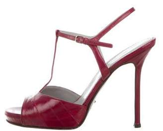 Sergio Rossi Leather T-Strap Sandals Plum Leather T-Strap Sandals
