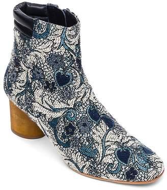 Bernardo Izzy Embroidered Wood-Heel Booties