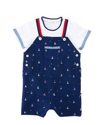 Mayoral Sailboat Overalls w/ Short-Sleeve Tee, Size 1-12 Months