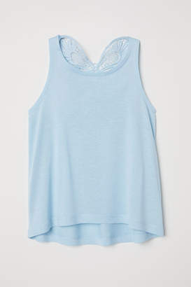 H&M Top with Crocheted Butterfly - Blue