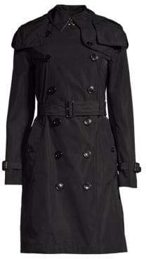 Burberry Kensington Hooded Double-Breasted Trench Coat