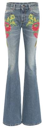 Gucci Embroidered flare jeans
