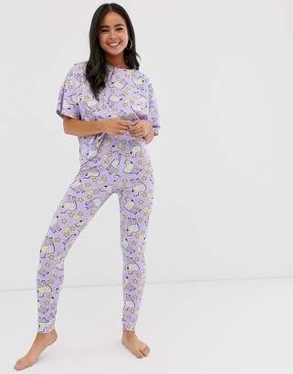 Asos Design DESIGN rainbow zebra unicorn t-shirt and legging pyjama set