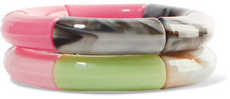 Kyoto Tango - Poof And Ta Ta Set Of Two Resin Bangles - Pink