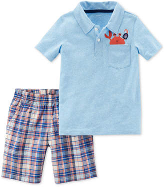 Carter's 2-Pc. Polo Shirt & Plaid Shorts, Baby Boys
