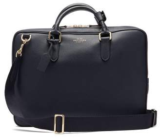 Smythson Burlington Leather Briefcase - Mens - Navy