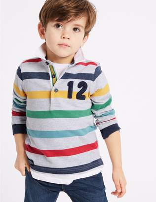Marks and Spencer Pure Cotton Striped Rugby Top (3 Months - 7 Years)