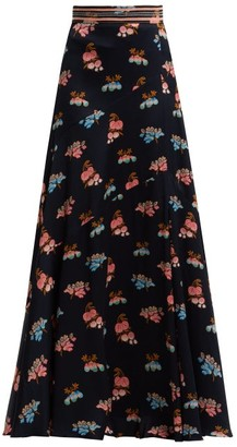Peter Pilotto Fig Print Silk Maxi Skirt - Womens - Blue