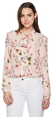 Suite Alice Long Sleeve Bow Tie Neck Print Shirt Pink Print