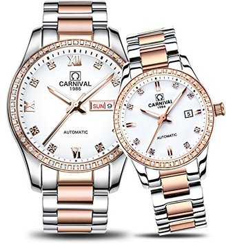 Carnival カーニバルCouple Watches Men And Women自動機械腕時計ファッションシックfor HerまたはHisのセット2 Rose Gold White