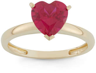 FINE JEWELRY Womens Lab Created Red Ruby 10K Gold Heart Solitaire Cocktail Ring