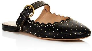 Chloé Women's Lauren Round Toe Studded Leather Ballerina Flats