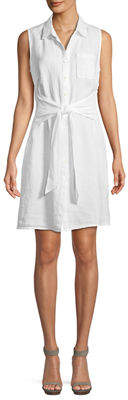 Three Dots Sleeveless Tie-Front Linen Shirtdress