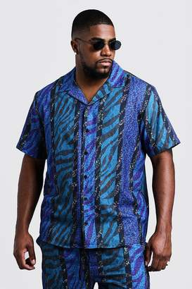 BoohoomanBoohooMAN Mens Blue Big & Tall Animal Stripe Revere Collar Shirt, Blue