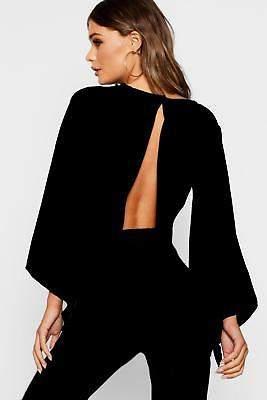 boohoo NEW Womens Flare Sleeve Tie Back Crop Top in Polyester 3% Elastane