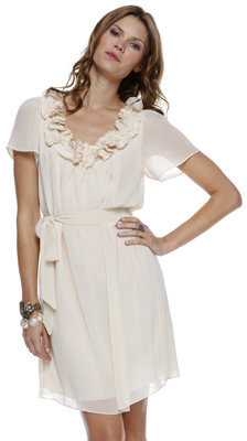 Forever 21 Love21 Pleat Clusters Chiffon Dress