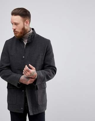 Process Black Funnel Neck Wool Overcoat