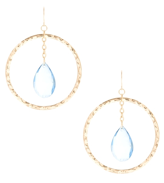 Large Gold Hammered Hoop with Drop