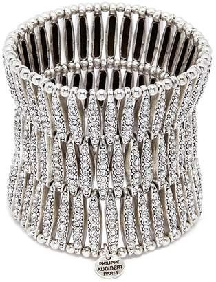 Philippe Audibert 'Almond' Swarovski crystal three row plate elastic bracelet