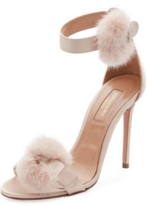 Aquazzura Fur-Trim Satin d'Orsay Sandal