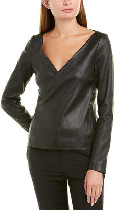 Theory Fitted Leather Wrap Jacket
