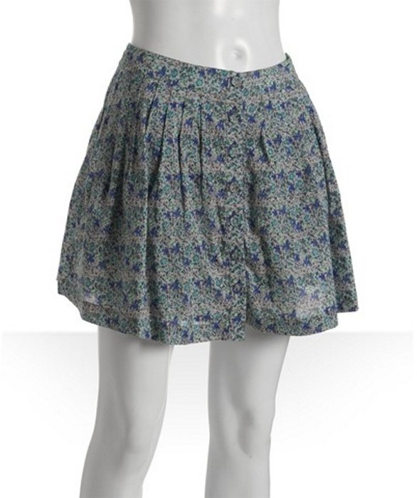 Free People grey floral 'Henna' pleated button front skirt
