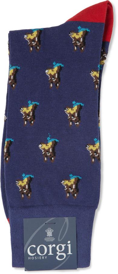 Corgi Dog-Patterned Cotton-Blend Socks