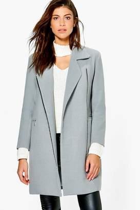 boohoo Zip Up Wool Look Coat
