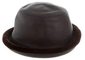 Hermes Mink-Trimmed Leather Japon Hat w/ Tags
