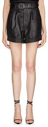 Saint Laurent Women's Pleated Leather Shorts