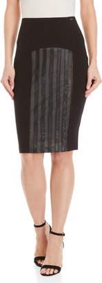 Gaudi' Gaudi Black Mesh Faux Leather Pencil Skirt